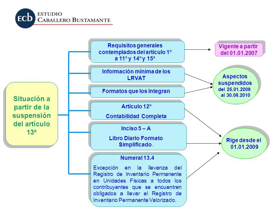 Rige desde el 01.01.2009 Rige desde el 01.01.2009 Requisitos generales contemplados del artículo 1º a 11º y 14º y 15º Formatos que los Integran Inform