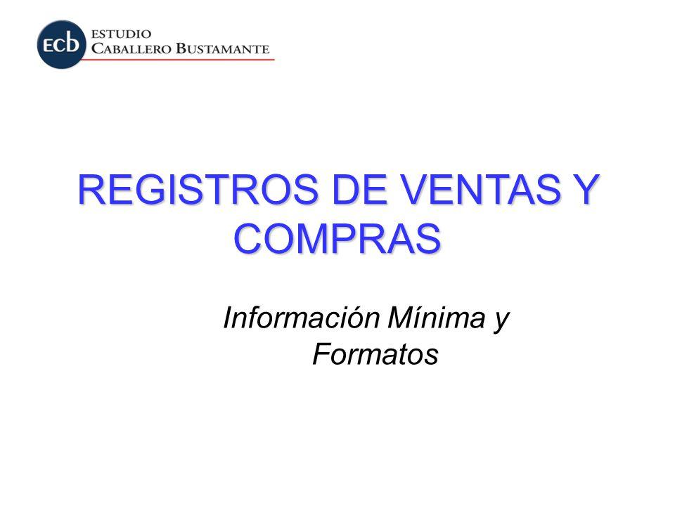 Información Mínima y Formatos REGISTROS DE VENTAS Y COMPRAS
