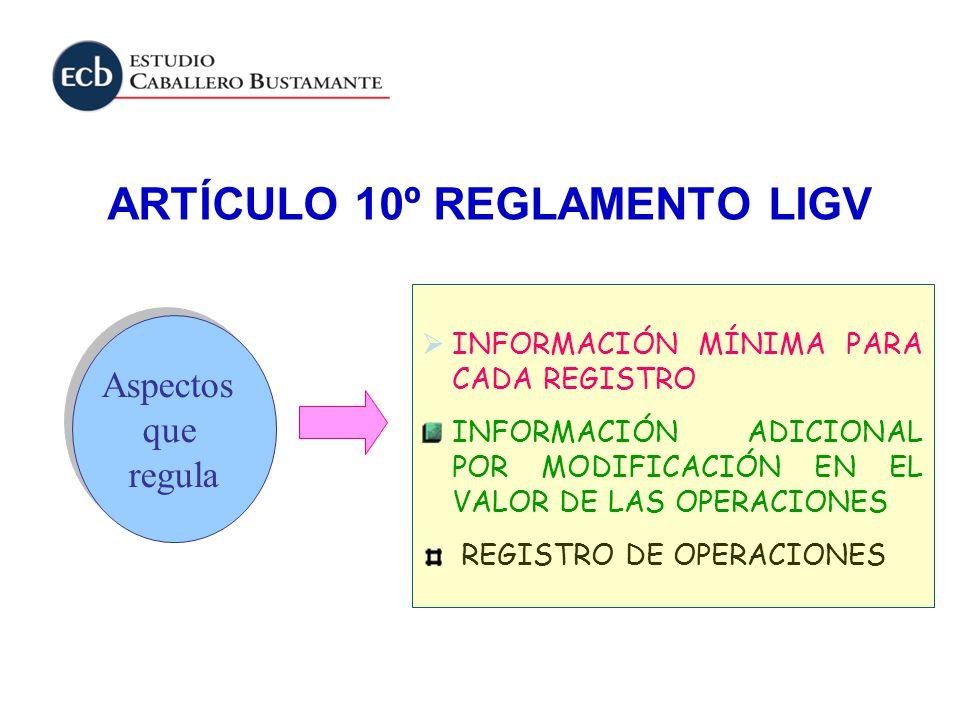 ARTÍCULO 10º REGLAMENTO LIGV Aspectos que regula Aspectos que regula INFORMACIÓN MÍNIMA PARA CADA REGISTRO INFORMACIÓN ADICIONAL POR MODIFICACIÓN EN E