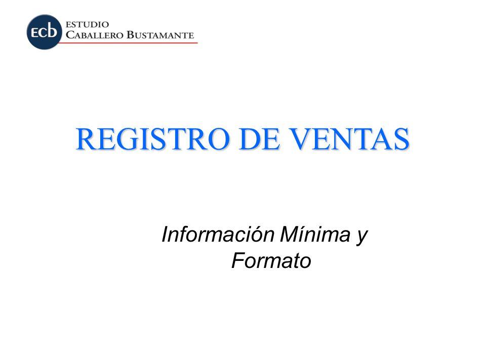 Información Mínima y Formato REGISTRO DE VENTAS