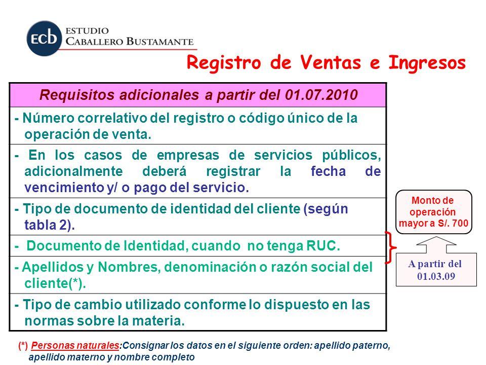 Requisitos adicionales a partir del 01.07.2010 - Número correlativo del registro o código único de la operación de venta. - En los casos de empresas d