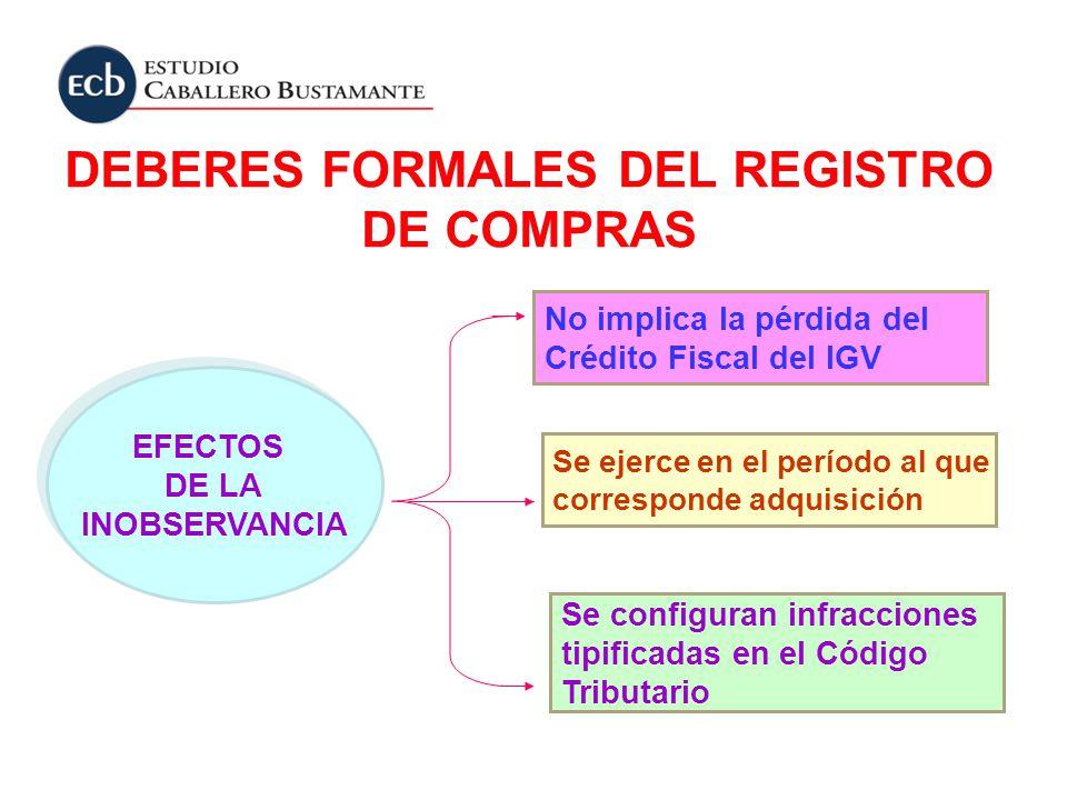 DEBERES FORMALES DEL REGISTRO DE COMPRAS No implica la pérdida del Crédito Fiscal del IGV EFECTOS DE LA INOBSERVANCIA EFECTOS DE LA INOBSERVANCIA Se c