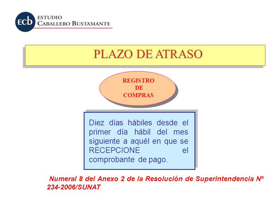 PLAZO DE ATRASO REGISTRO DE COMPRAS Numeral 8 del Anexo 2 de la Resolución de Superintendencia Nº 234-2006/SUNAT Diez días hábiles desde el primer día
