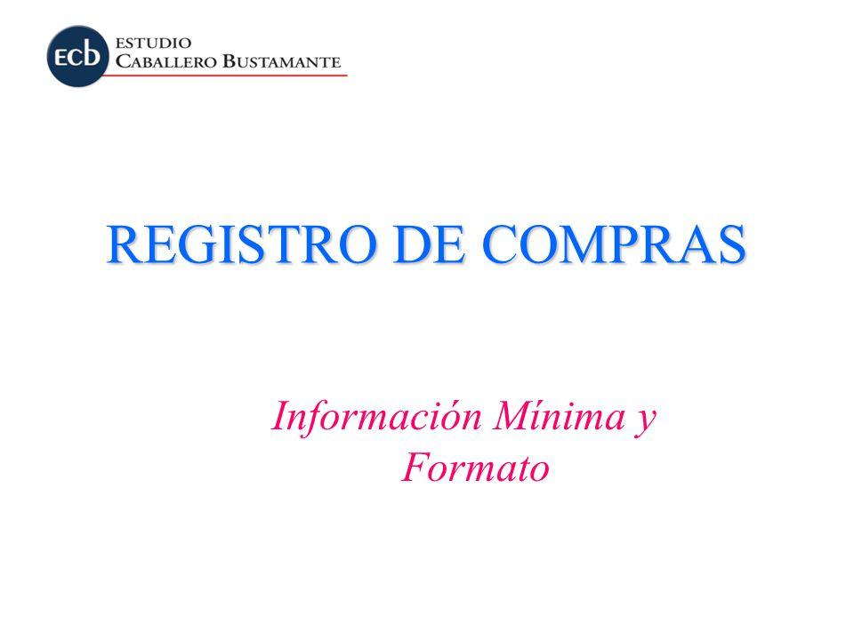 Información Mínima y Formato REGISTRO DE COMPRAS