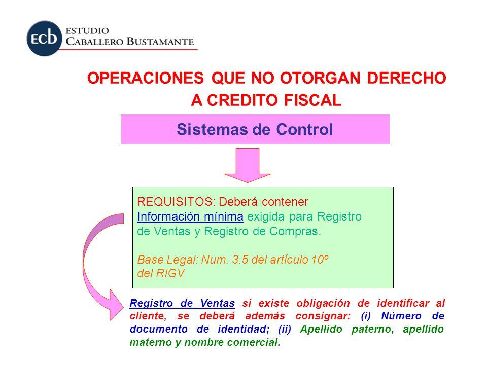 OPERACIONES QUE NO OTORGAN DERECHO A CREDITO FISCAL Sistemas de Control REQUISITOS: Deberá contener Información mínima exigida para Registro de Ventas