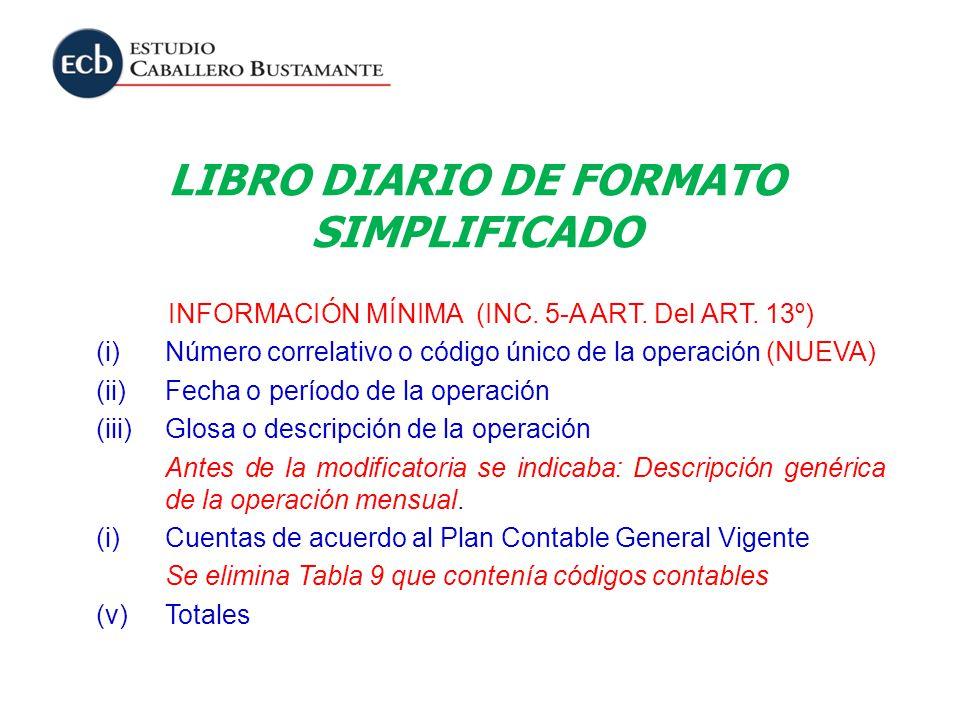LIBRO DIARIO DE FORMATO SIMPLIFICADO INFORMACIÓN MÍNIMA (INC. 5-A ART. Del ART. 13º) (i)Número correlativo o código único de la operación (NUEVA) (ii)