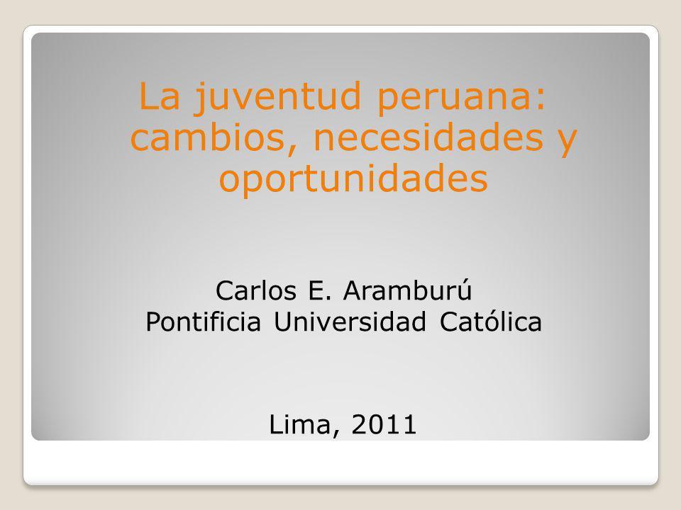 1.DATOS BÁSICOS La población joven en el Perú (15-29 años) es de 7,554,204 personas en 2007 (poco más de 1 millón más que en 1993)..