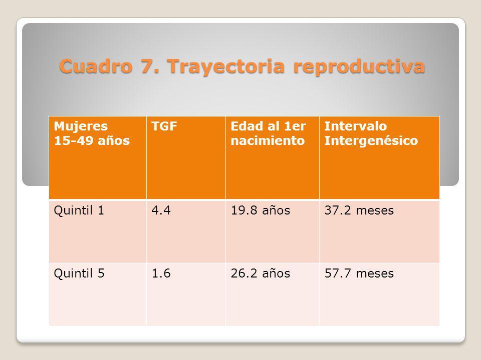 Mujeres 15-49 años TGFEdad al 1er nacimiento Intervalo Intergenésico Quintil 14.419.8 años37.2 meses Quintil 51.626.2 años57.7 meses Cuadro 7. Trayect