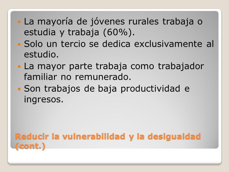 Reducir la vulnerabilidad y la desigualdad (cont.) La mayoría de jóvenes rurales trabaja o estudia y trabaja (60%). Solo un tercio se dedica exclusiva