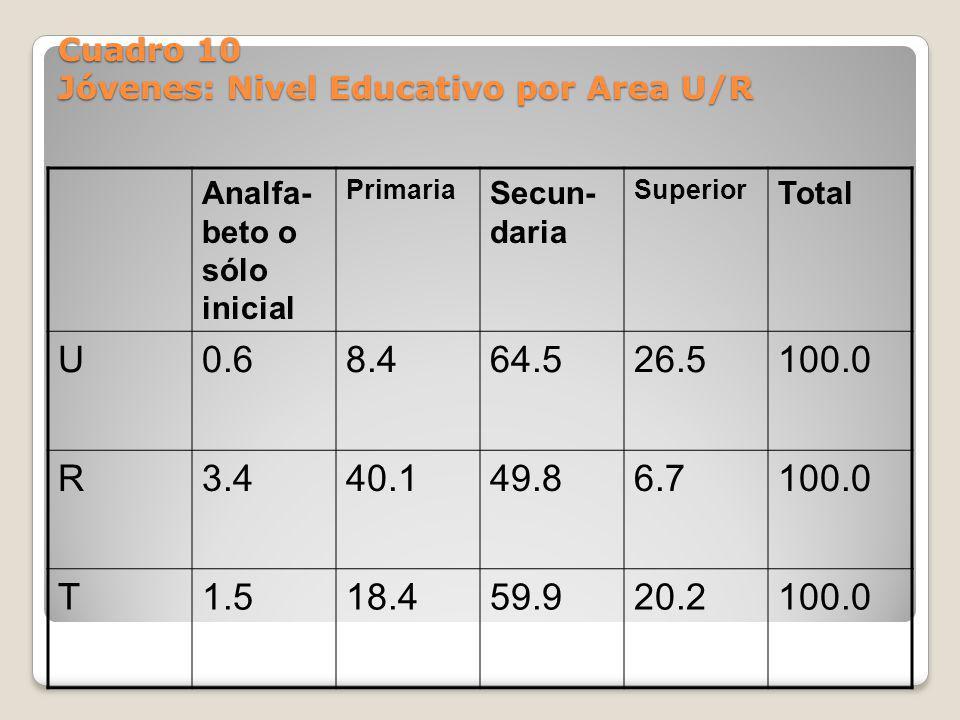 Cuadro 10 Jóvenes: Nivel Educativo por Area U/R Analfa- beto o sólo inicial Primaria Secun- daria Superior Total U0.68.464.526.5100.0 R3.440.149.86.71