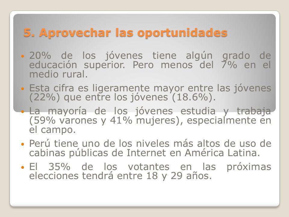 5. Aprovechar las oportunidades 20% de los jóvenes tiene algún grado de educación superior. Pero menos del 7% en el medio rural. Esta cifra es ligeram