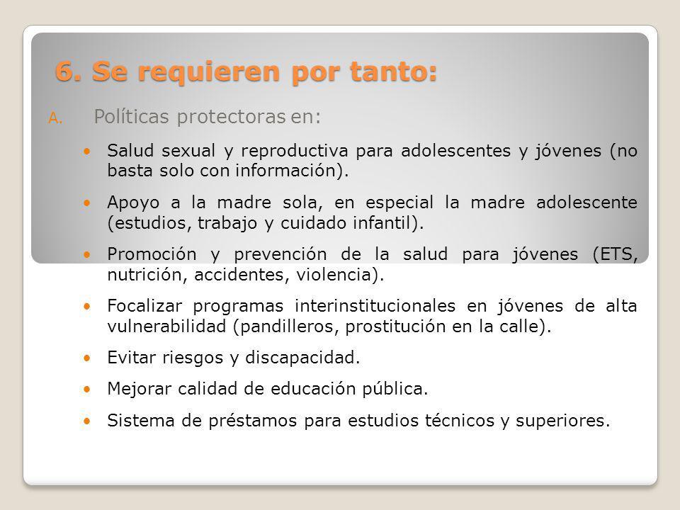 6. Se requieren por tanto: A. Políticas protectoras en: Salud sexual y reproductiva para adolescentes y jóvenes (no basta solo con información). Apoyo