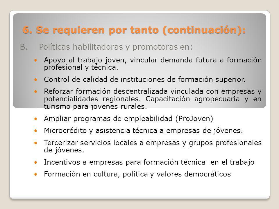 6. Se requieren por tanto (continuación): B. Políticas habilitadoras y promotoras en: Apoyo al trabajo joven, vincular demanda futura a formación prof