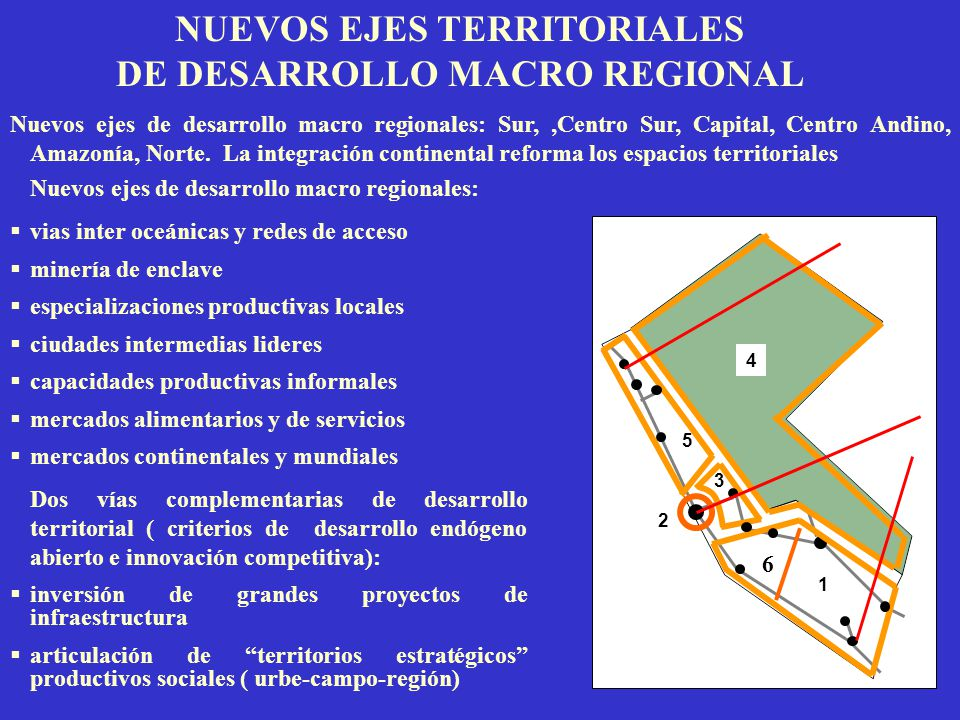 NUEVOS EJES TERRITORIALES DE DESARROLLO MACRO REGIONAL Nuevos ejes de desarrollo macro regionales: vias inter oceánicas y redes de acceso minería de e