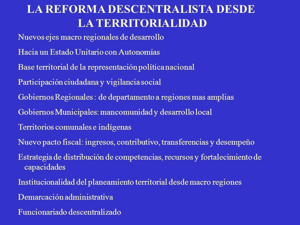 LA REFORMA DESCENTRALISTA DESDE LA TERRITORIALIDAD Nuevos ejes macro regionales de desarrollo Hacia un Estado Unitario con Autonomías Base territorial