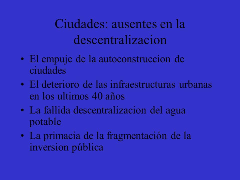 Ciudades: ausentes en la descentralizacion El empuje de la autoconstruccion de ciudades El deterioro de las infraestructuras urbanas en los ultimos 40