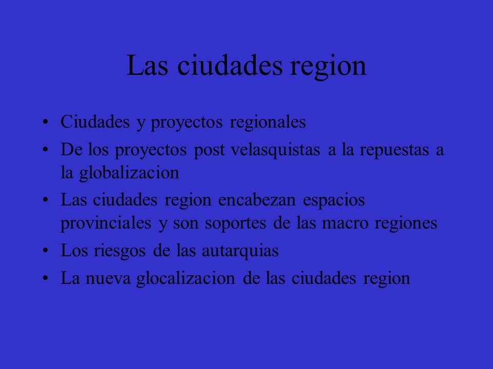 Las ciudades region Ciudades y proyectos regionales De los proyectos post velasquistas a la repuestas a la globalizacion Las ciudades region encabezan