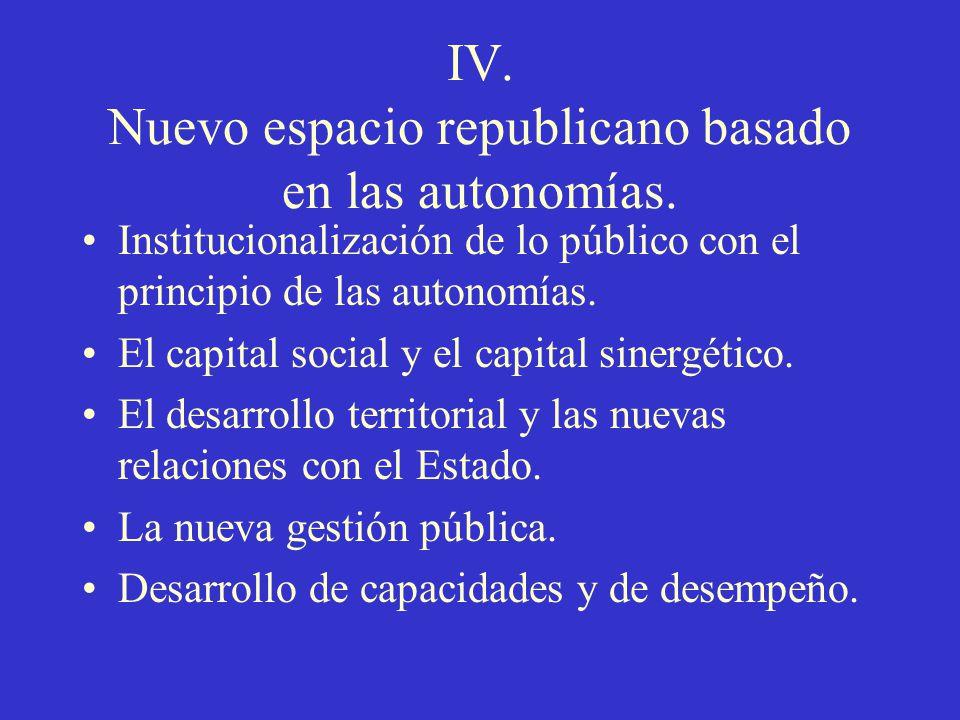 IV. Nuevo espacio republicano basado en las autonomías. Institucionalización de lo público con el principio de las autonomías. El capital social y el