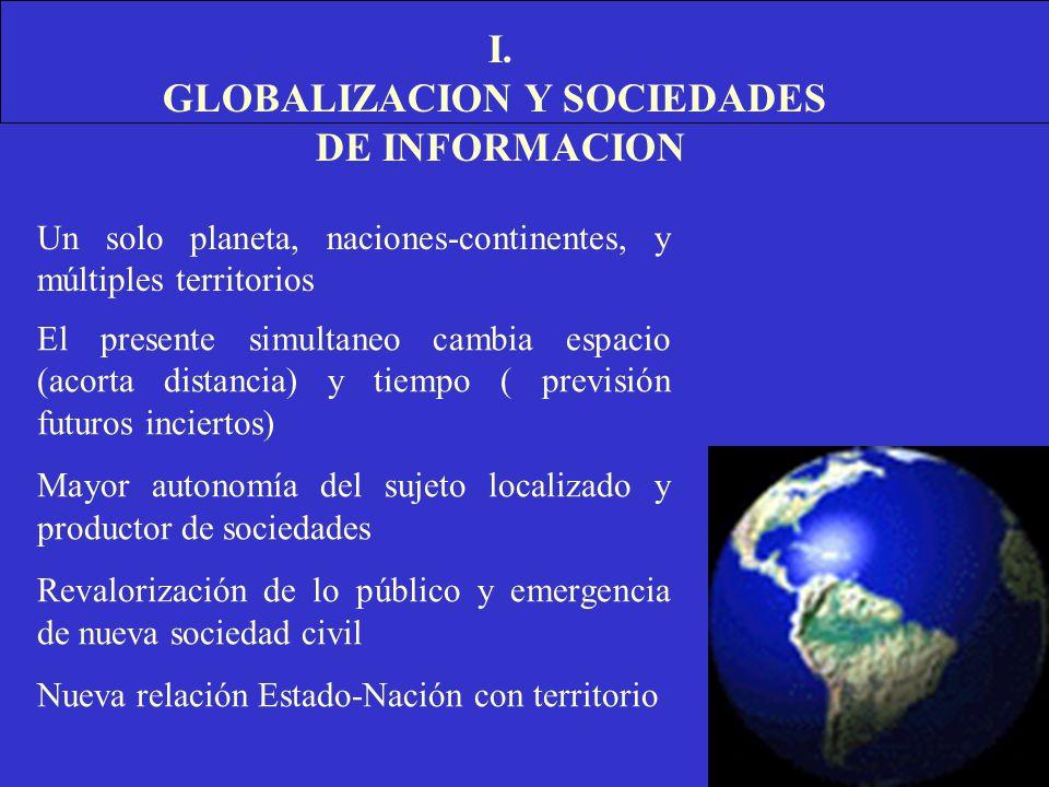 I. GLOBALIZACION Y SOCIEDADES DE INFORMACION Un solo planeta, naciones-continentes, y múltiples territorios El presente simultaneo cambia espacio (aco