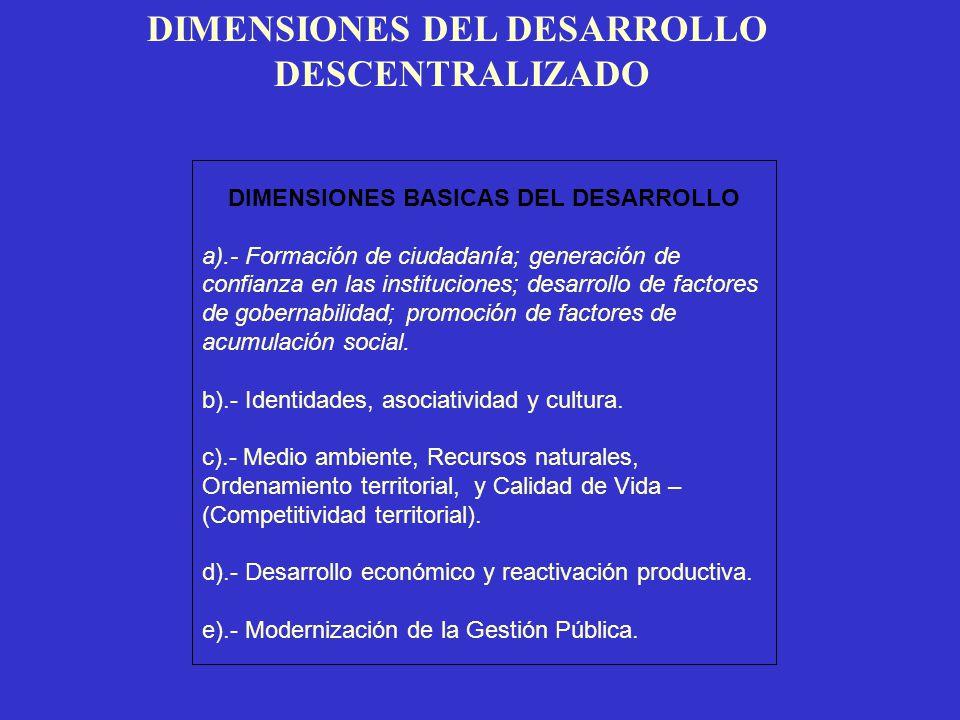 DIMENSIONES DEL DESARROLLO DESCENTRALIZADO DIMENSIONES BASICAS DEL DESARROLLO a).- Formación de ciudadanía; generación de confianza en las institucion