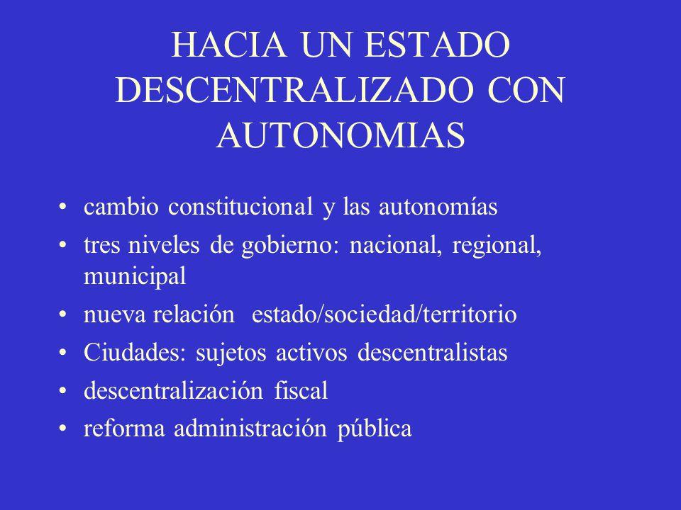 HACIA UN ESTADO DESCENTRALIZADO CON AUTONOMIAS cambio constitucional y las autonomías tres niveles de gobierno: nacional, regional, municipal nueva re