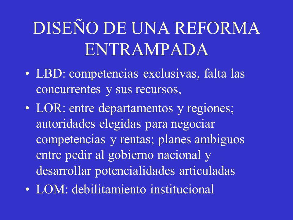 DISEÑO DE UNA REFORMA ENTRAMPADA LBD: competencias exclusivas, falta las concurrentes y sus recursos, LOR: entre departamentos y regiones; autoridades