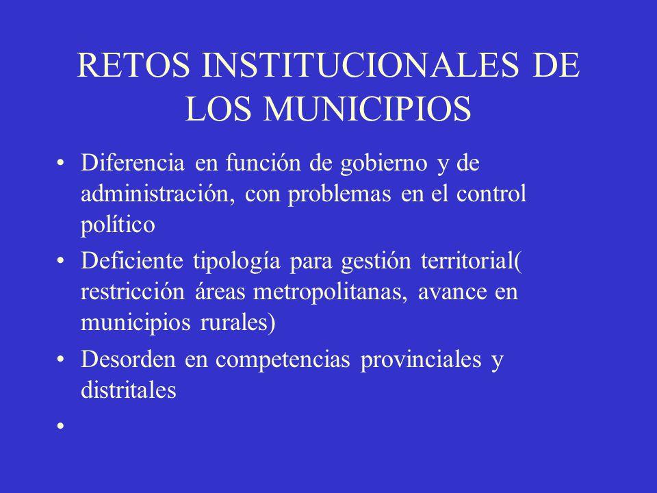 RETOS INSTITUCIONALES DE LOS MUNICIPIOS Diferencia en función de gobierno y de administración, con problemas en el control político Deficiente tipolog