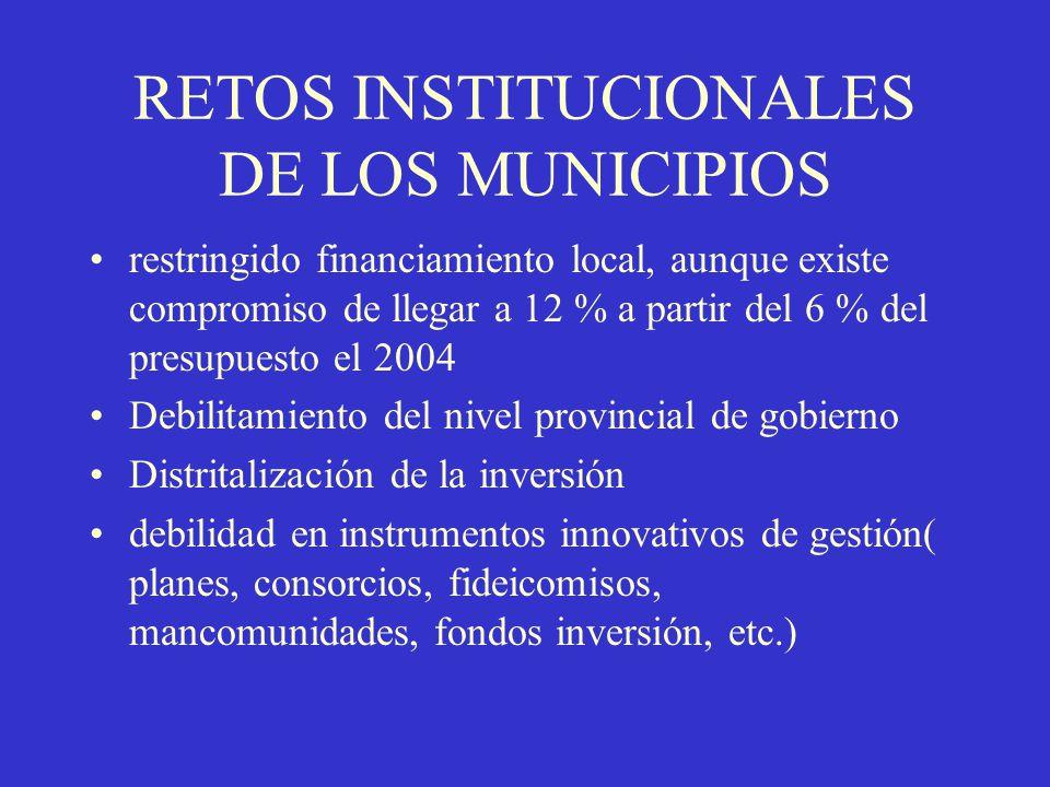 RETOS INSTITUCIONALES DE LOS MUNICIPIOS restringido financiamiento local, aunque existe compromiso de llegar a 12 % a partir del 6 % del presupuesto e