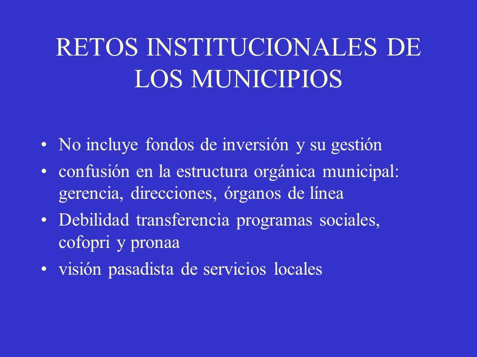 RETOS INSTITUCIONALES DE LOS MUNICIPIOS No incluye fondos de inversión y su gestión confusión en la estructura orgánica municipal: gerencia, direccion
