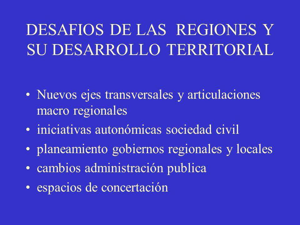 DESAFIOS DE LAS REGIONES Y SU DESARROLLO TERRITORIAL Nuevos ejes transversales y articulaciones macro regionales iniciativas autonómicas sociedad civi