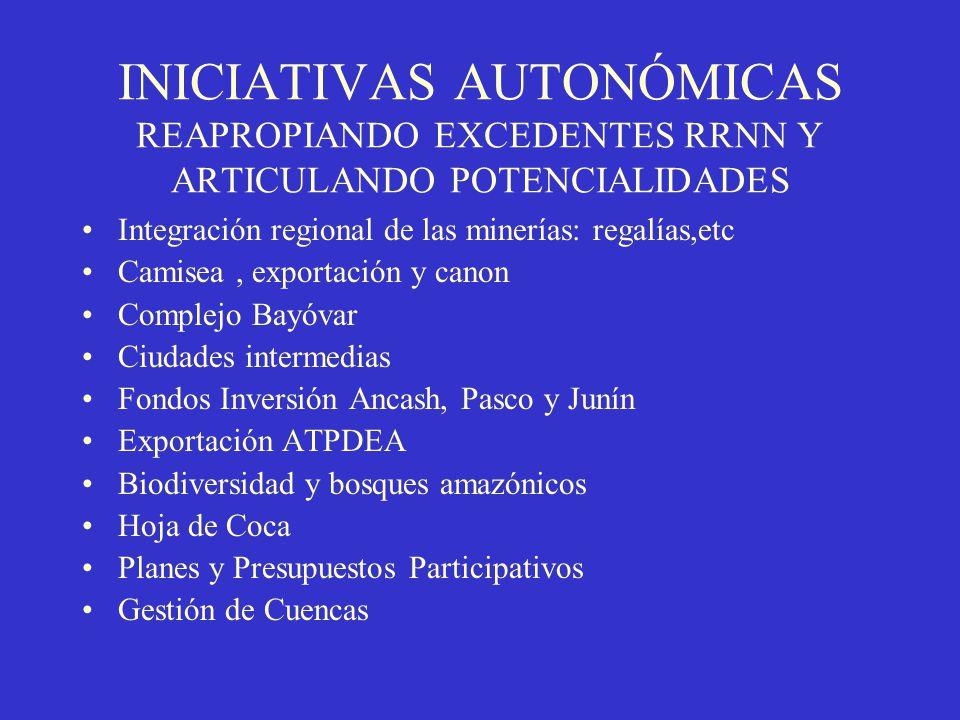INICIATIVAS AUTONÓMICAS REAPROPIANDO EXCEDENTES RRNN Y ARTICULANDO POTENCIALIDADES Integración regional de las minerías: regalías,etc Camisea, exporta