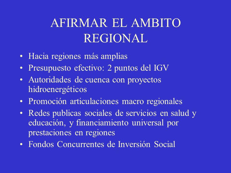 AFIRMAR EL AMBITO REGIONAL Hacia regiones más amplias Presupuesto efectivo: 2 puntos del IGV Autoridades de cuenca con proyectos hidroenergéticos Prom