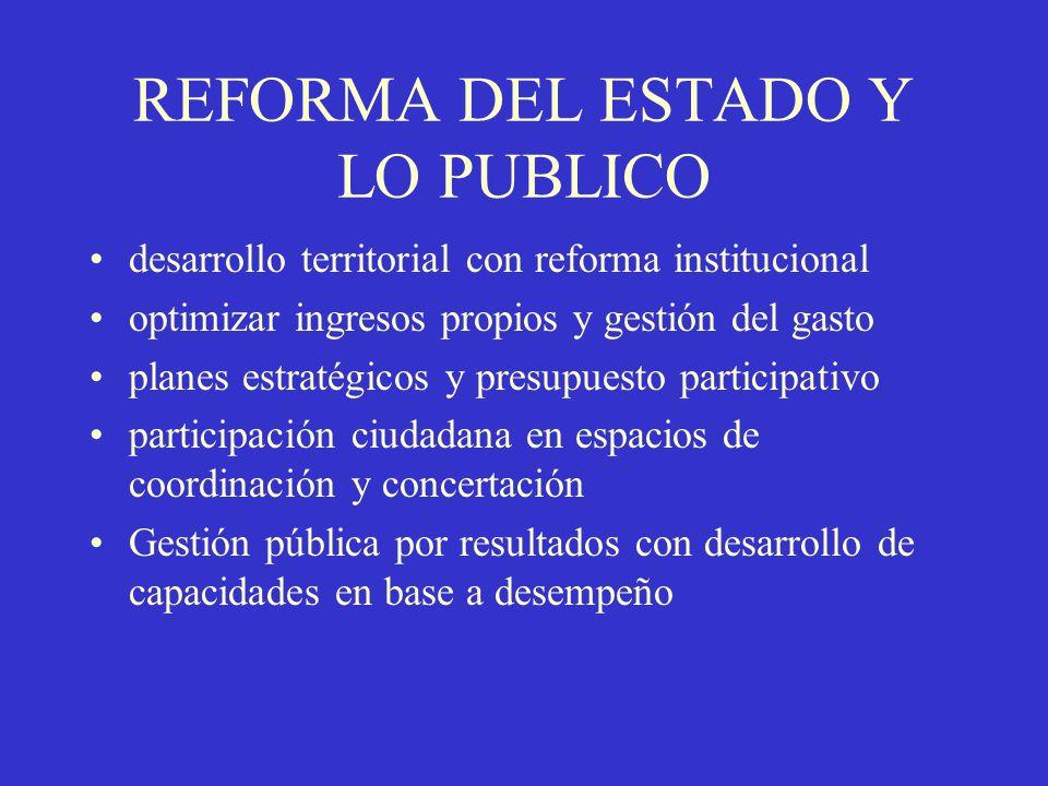 REFORMA DEL ESTADO Y LO PUBLICO desarrollo territorial con reforma institucional optimizar ingresos propios y gestión del gasto planes estratégicos y