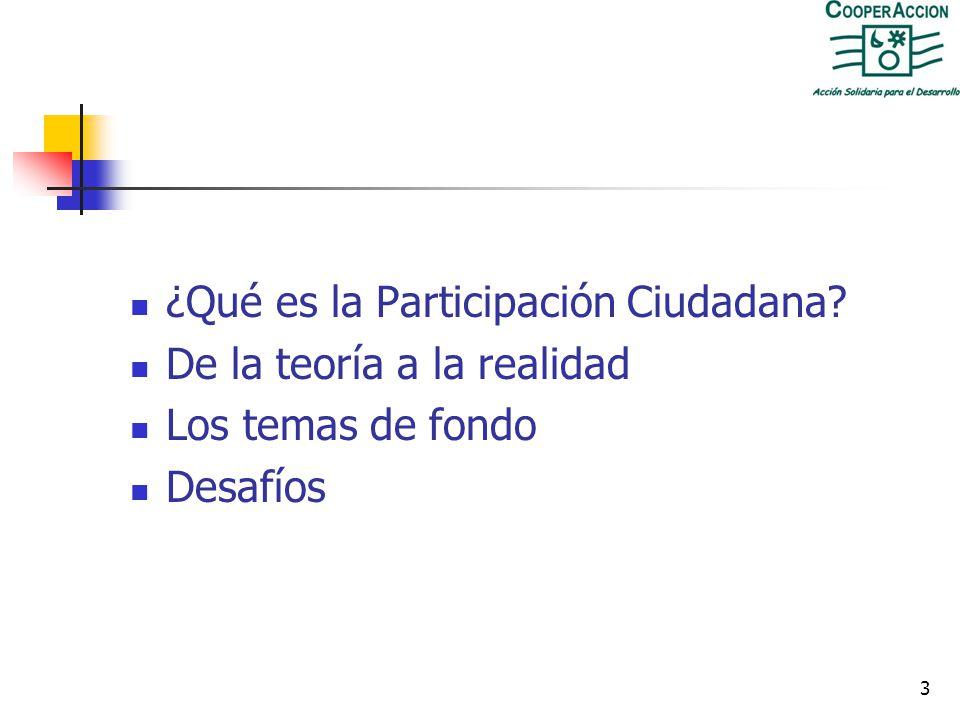 3 ¿Qué es la Participación Ciudadana? De la teoría a la realidad Los temas de fondo Desafíos