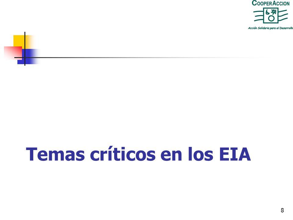 Temas críticos en los EIA 8