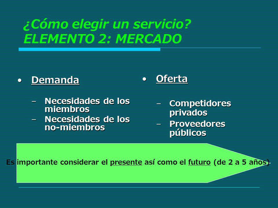 DemandaDemanda –Necesidades de los miembros –Necesidades de los no-miembros OfertaOferta –Competidores privados –Proveedores públicos Es importante co