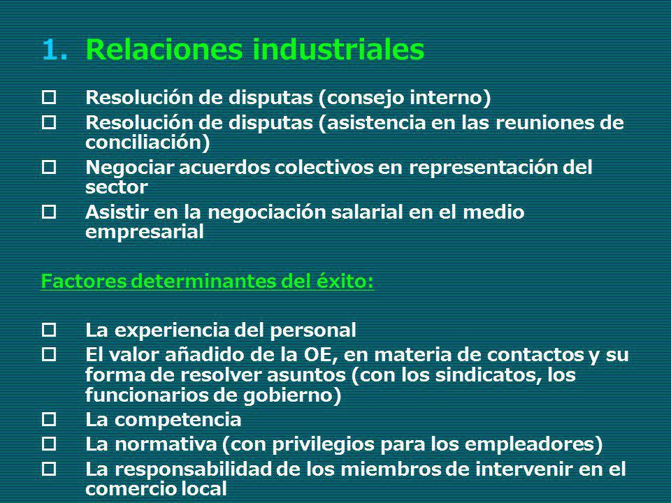 1.Relaciones industriales Resolución de disputas (consejo interno) Resolución de disputas (asistencia en las reuniones de conciliación) Negociar acuer