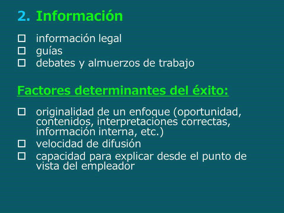 2.Información información legal guías debates y almuerzos de trabajo Factores determinantes del éxito: originalidad de un enfoque (oportunidad, conten
