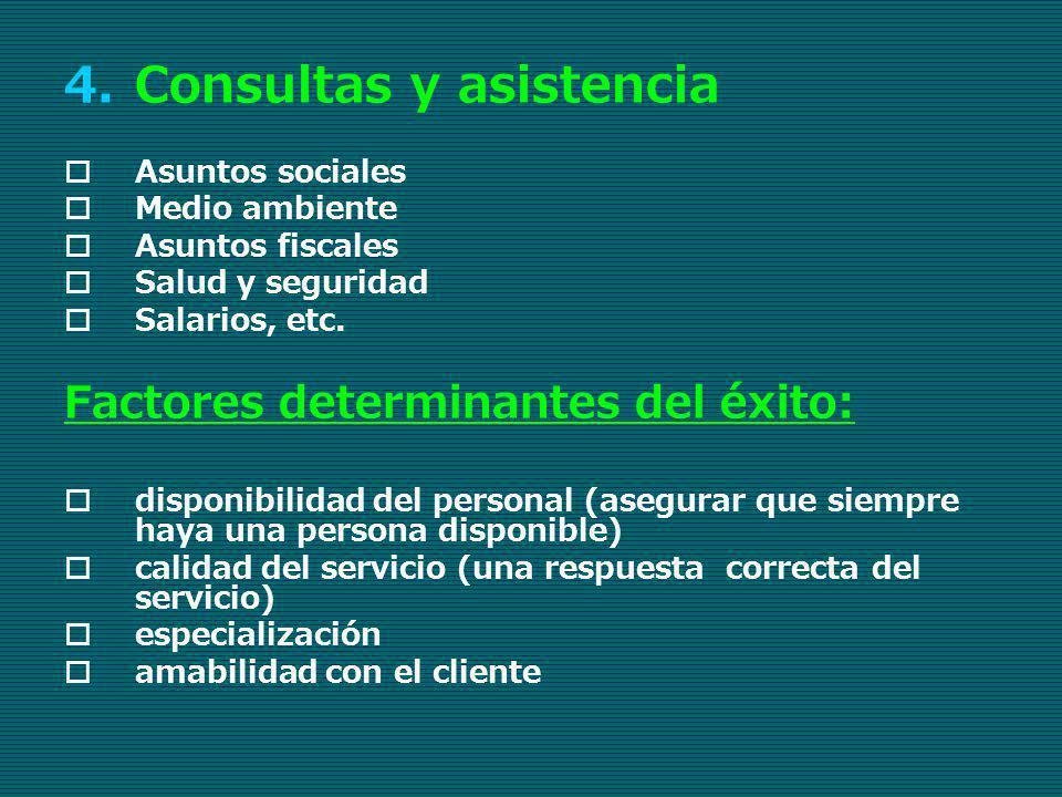 4.Consultas y asistencia Asuntos sociales Medio ambiente Asuntos fiscales Salud y seguridad Salarios, etc. Factores determinantes del éxito: disponibi