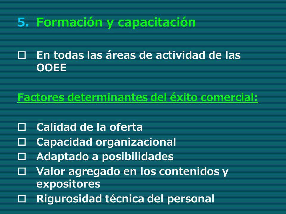 5.Formación y capacitación En todas las áreas de actividad de las OOEE Factores determinantes del éxito comercial: Calidad de la oferta Capacidad orga