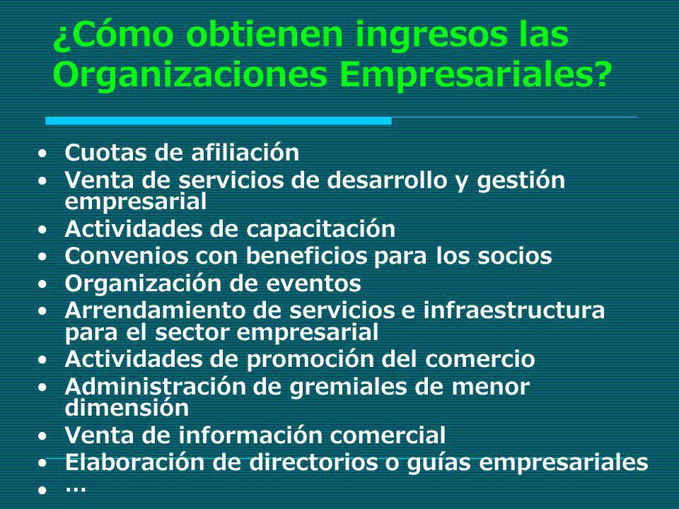 ¿Cómo obtienen ingresos las Organizaciones Empresariales? Cuotas de afiliación Venta de servicios de desarrollo y gestión empresarial Actividades de c
