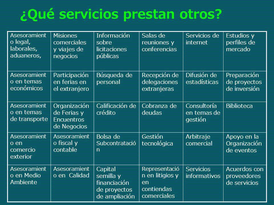 ¿Qué servicios prestan otros? Asesoramient o legal, laborales, aduaneros, Misiones comerciales y viajes de negocios Información sobre licitaciones púb
