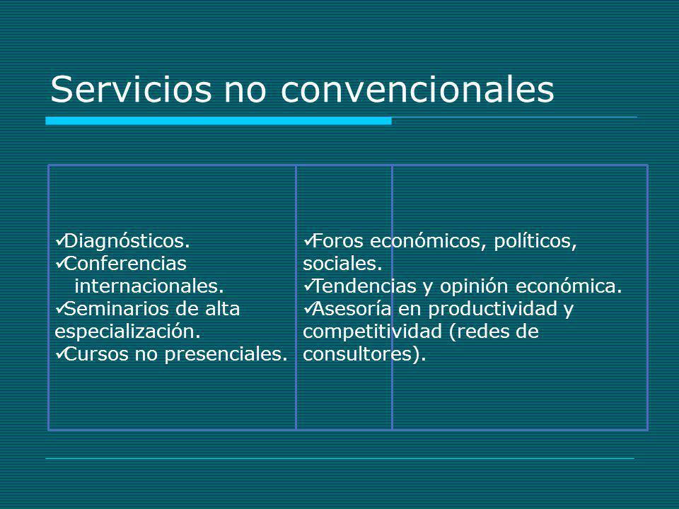Servicios no convencionales Diagnósticos. Conferencias internacionales. Seminarios de alta especialización. Cursos no presenciales. Foros económicos,
