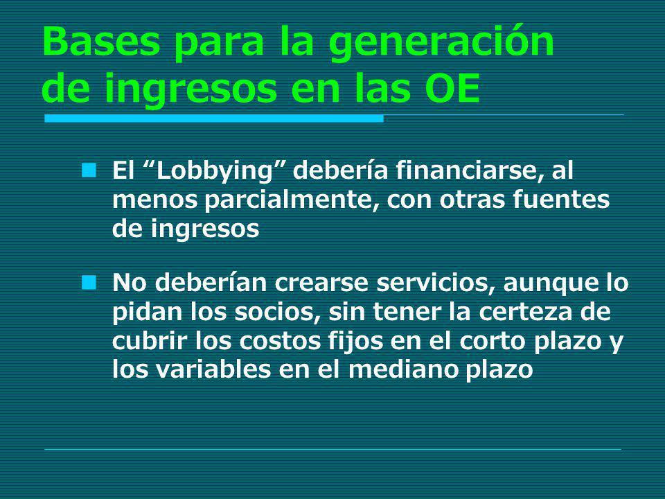 Bases para la generación de ingresos en las OE El Lobbying debería financiarse, al menos parcialmente, con otras fuentes de ingresos No deberían crear