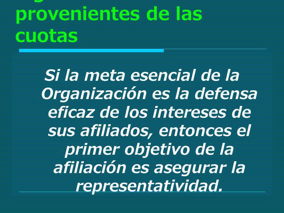 Optimización de los ingresos provenientes de las cuotas Si la meta esencial de la Organización es la defensa eficaz de los intereses de sus afiliados,