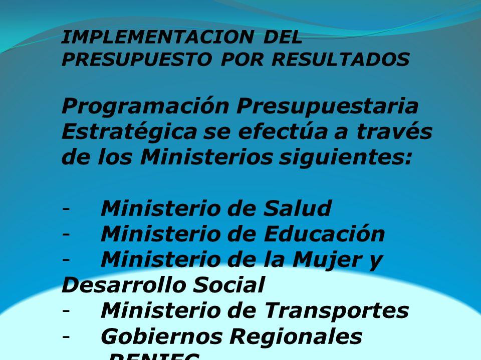 IMPLEMENTACION DEL PRESUPUESTO POR RESULTADOS Programación Presupuestaria Estratégica se efectúa a través de los Ministerios siguientes: - Ministerio de Salud - Ministerio de Educación - Ministerio de la Mujer y Desarrollo Social - Ministerio de Transportes - Gobiernos Regionales - RENIEC