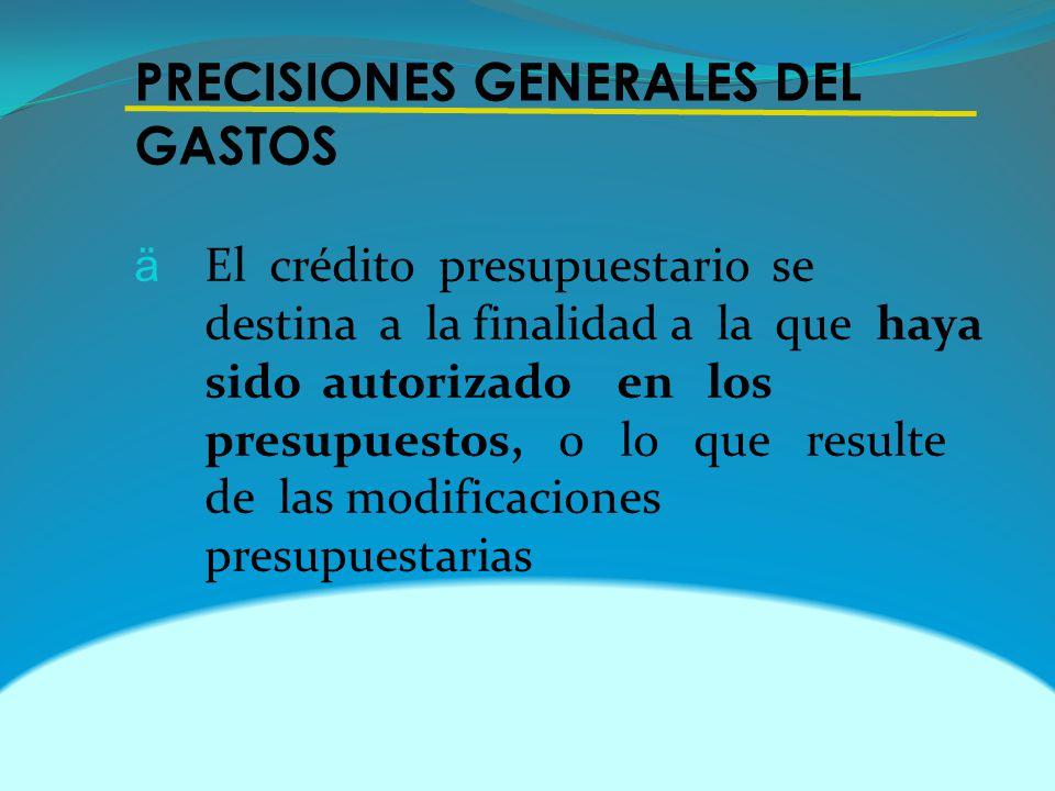 PRECISIONES GENERALES DEL GASTOS ä El crédito presupuestario se destina a la finalidad a la que haya sido autorizado en los presupuestos, o lo que resulte de las modificaciones presupuestarias