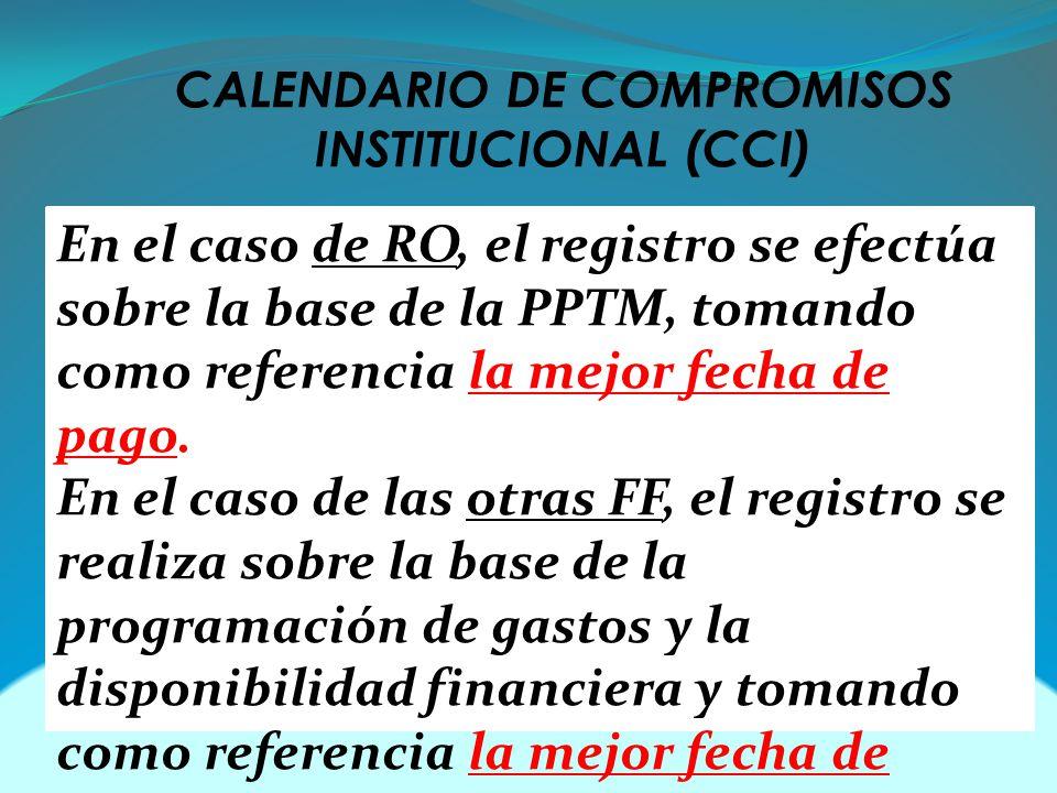 CALENDARIO DE COMPROMISOS INSTITUCIONAL (CCI) En el caso de RO, el registro se efectúa sobre la base de la PPTM, tomando como referencia la mejor fecha de pago.