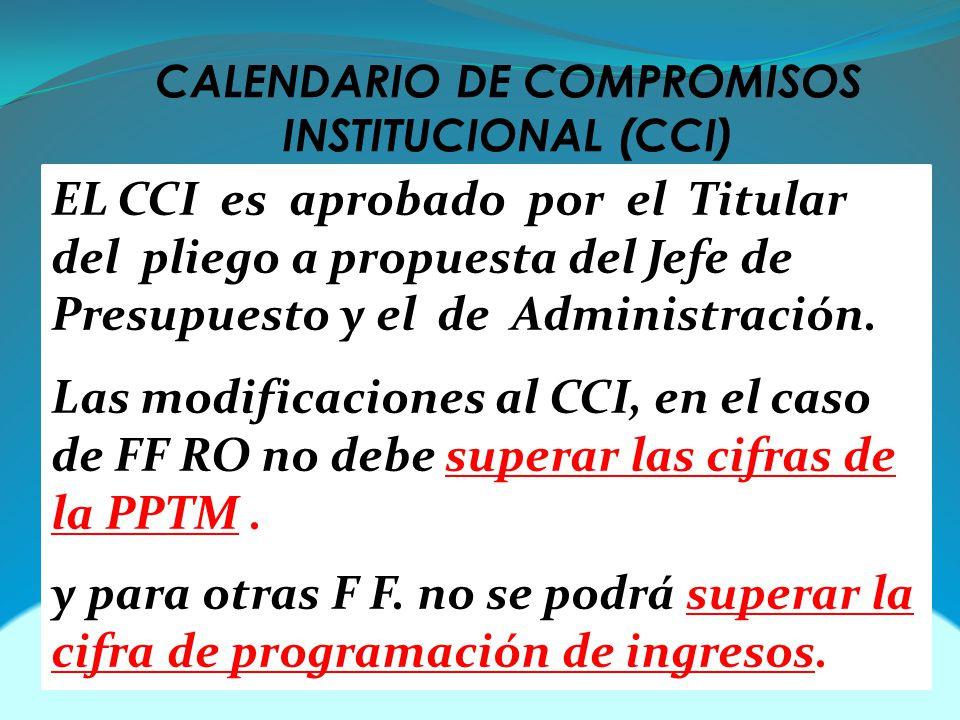 CALENDARIO DE COMPROMISOS INSTITUCIONAL (CCI) EL CCI es aprobado por el Titular del pliego a propuesta del Jefe de Presupuesto y el de Administración.