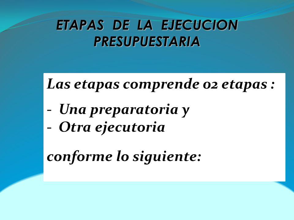ETAPAS DE LA EJECUCION PRESUPUESTARIA Las etapas comprende 02 etapas : - Una preparatoria y - Otra ejecutoria conforme lo siguiente: